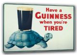 Have a Guinness When You're Tired Tortoise. Vintage Advertising Slogan Canvas. Sizes:  A3/A2/A1. (00133)
